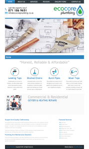 Eco Core Plumbing Website - Design by Intense Web Design Harrogate
